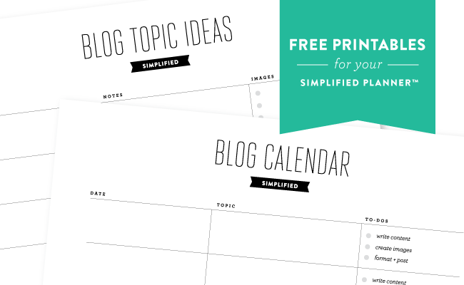 photograph about Printables Blog called Absolutely free Printables! Running a blog: Simplified Simplified® as a result of Emily Ley