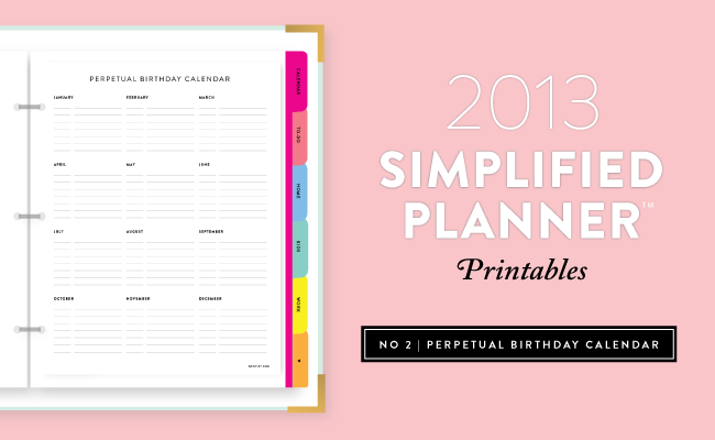 photograph about Free Printable Perpetual Birthday Calendar Template called Simplified Existence Binder Printables: Perpetual Birthday